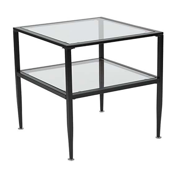 Flash Furniture Newport Collection Glass End Table with Black Metal Frame - Contemporary Style Clear Tempered Glass Surface 8mm Thick Glass - living-room-furniture, living-room, end-tables - 41iLDY5E%2BRL. SS570  -