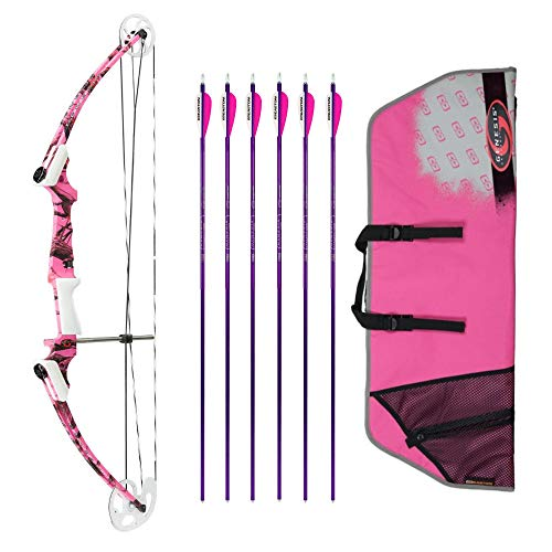 (Genesis Archery Original Compound Bow (Left Hand, Pink Camo) with Case and Six NASP Official Arrows Bundle)