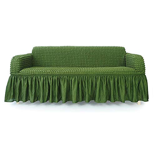 NICEEC 1-Piece Stretchable Easy Fit Sofa Cover Durable Furniture Slipcover in Country Style Made of Machine Washable and Quick-Drying Fabric for 3-seat Sofa and Couch(Sofa,Olive - Leather Green Sofa