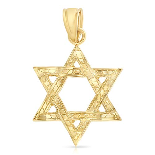 - Ioka - 14K Yellow Gold Star of David Charm Pendant For Necklace or Chain