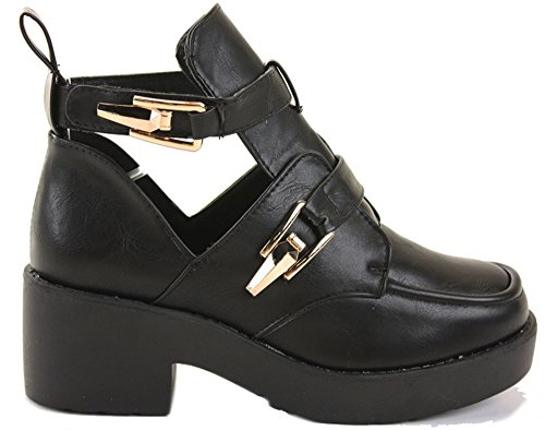 WOMENS LADIES CHELSEA MID HIGH HEEL BOOTIES HEELED BLOCK PLATFORM WINTER ANKLE BOOTS SIZE 3-8 Style 10 - Black 05NFSsdFE