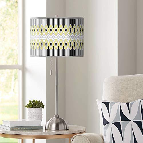 Desert Geometric Giclee Brushed Nickel Table Lamp - Giclee Glow ()
