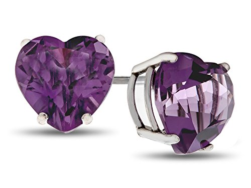 Finejewelers 6x6mm Heart Shaped Amethyst Post-With-Friction-Back Stud Earrings Sterling Silver