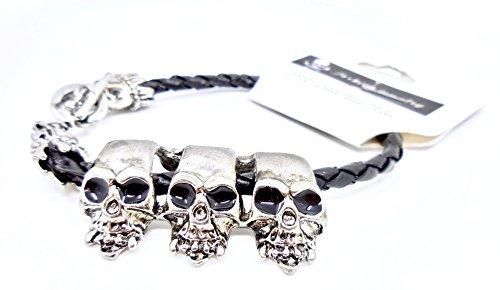 (Halloween Skull Accessory,Skull Bracelet,Silver Metal Skulls,Toggle Closure)