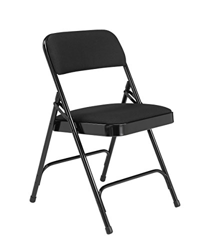 National Public Seating 2200 Series Steel Frame Upholstered Premium Fabric Seat and Back Folding Chair with Double Brace, 480 lbs Capacity, Black/Black (Carton of ()