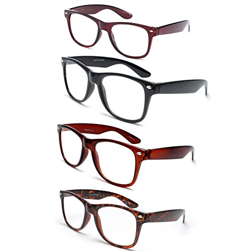 Newbee Fashion - IG Wayfarer Style Comfortable Stylish Simple Reading Glasses, 4 Pack - Black, Brown, Tortoise, - Glasses Reading Mens Wayfarer