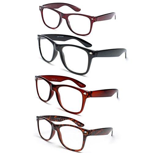 Brown Tortoise Frame (Newbee Fashion - IG Wayfarer Style Comfortable Stylish Simple Reading Glasses, 4 Pack - Black, Brown, Tortoise, Red)