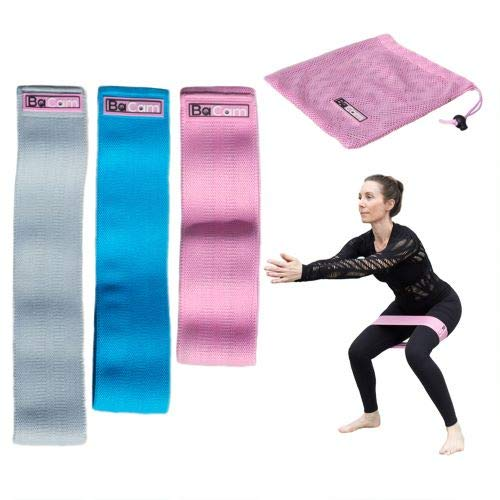 Thick Resistance Bands for Legs and Butt - Non Slip Fabric Material, Set of 3 Elastic Bands for Exercise (Pink)