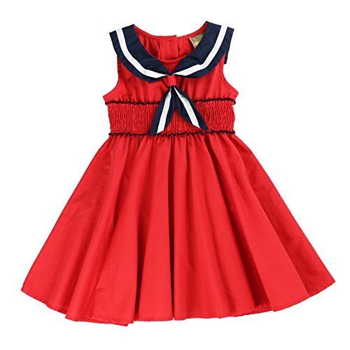 MARIA ELENA - Girls Cotton Nautical Sailor Mini Dress in Rich Red 6