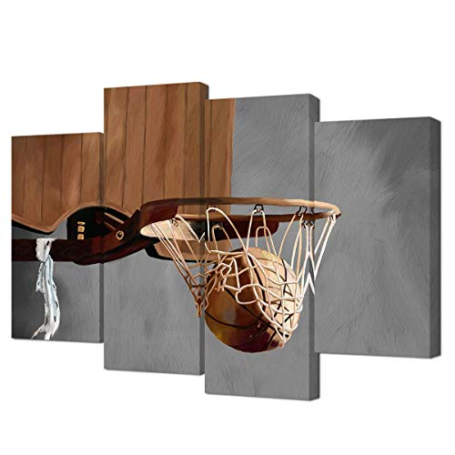 VVOVV Wall Decor Basketball Painting Sports Theme Basketball Pictures Artwork Canvas Print Basketball Going Through Basketball Hoop Vintage Style Sports Painting Modern Kids Room Decor