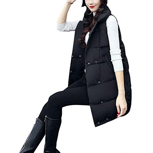 Long Autumn fereshte Down Winter Warm Women's Vest Coat Cotton Black tqxwvgOx5