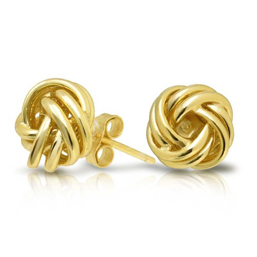Gold Plated Knot Earrings (Bling Jewelry Gold Plated Woven Love Knot Stud Earrings 925 Silver)