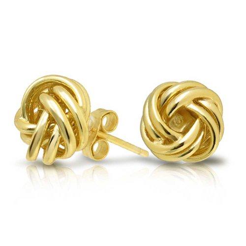 Bling Jewelry Woven Double Love Knot Stud earrings Gold Vermeil 9mm