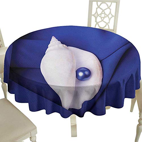 round tablecloth 60 Inch Pearls,Exotic Shell with Pearl Collection Undersea Treasure Discovery Leisure Picture Print,Blue White Great for,family,outdoors,restaurant,Party,Wedding,Coffee Bar,traveling, ()