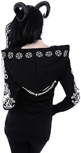 Restyle Clothing Ritual Hoodie - Bluse mit Widderschädel und Pentagrammdruck