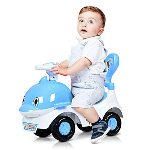 3-in-1 Baby Walker Sliding Car Pushing Cart Toddler Ride - Blue from Unknown