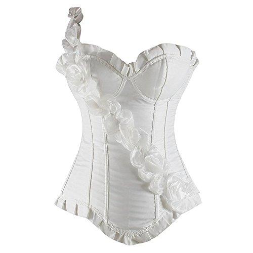 Europa Palace Vintage Korsett Korsetts Yiyinglun rose Band Kunststoff Kleidung Damenkorsetts , white , xxl