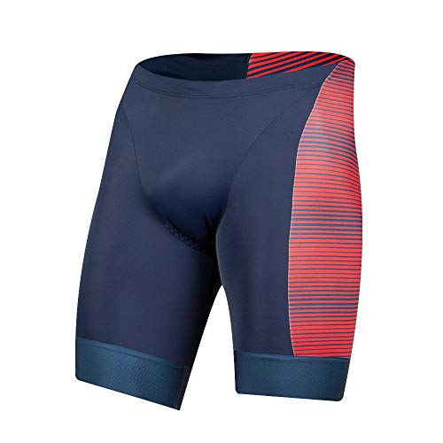 Pearl iZUMi Elite Graphic Tri Short, Torch Red/Navy Stripe, Medium