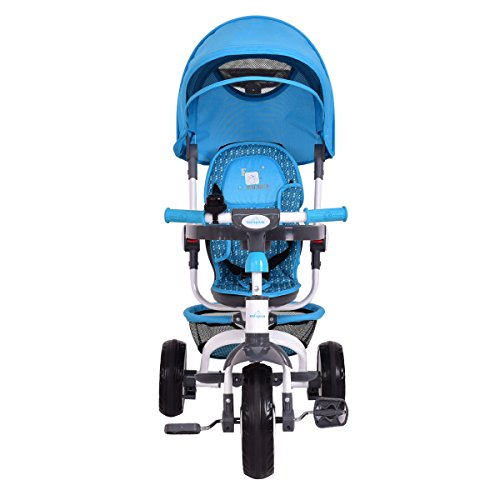 4-In-1 Kids Baby Stroller Tricycle Detachable Learning Toy Bike w/ Canopy Basket by Happybeamy