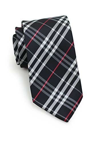 Bows-N-Ties Men's Necktie Tartan Plaid Microfiber Satin Tie 3.25 Inches (Black, Silver, Red)