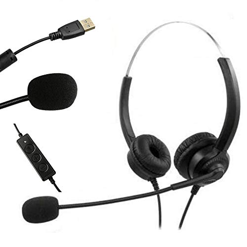 USB PC Headset, Noise Cancelling Stereo Gaming Headphones with Microphone Call Center for PC, Laptop, Tablet, TV, Skype