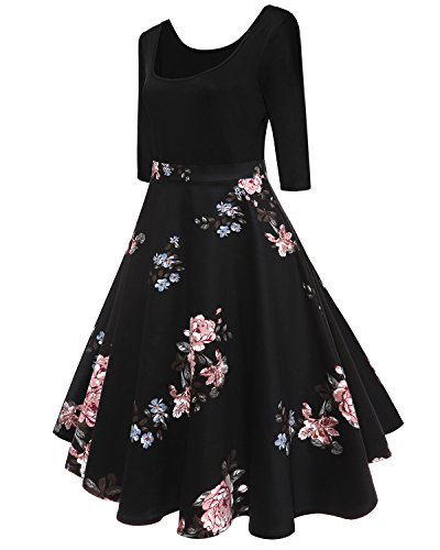 4 de Rockabilly annes Vintage Design soire Robe Hepburn 3 's Flamingo Rose Audrey Swing 50 Robe KUONUO Rtro Robe Manches Manche Style sans 8wPETRq