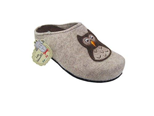 Zapatillas para mujer con diseño de búho fieltro, fabricado en Italia Beige