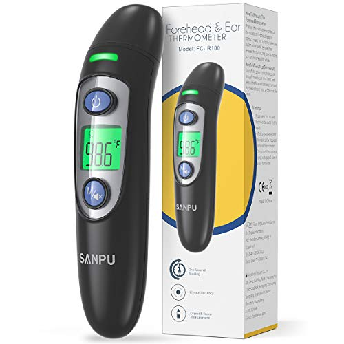 Thermometer for Fever, Thermometer Forehead with Ear Function Fever Alarm and 35 Set Memory Recall, Instant Accurate…