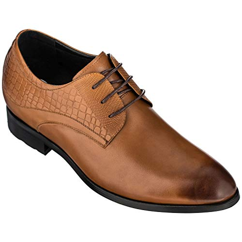 CALTO Height Increasing Elevator Shoes 3 Inches Taller - Light Tan Leather Dress Shoes - Men Invisible Elevated High Heels Oxfords A329013 - Size 7.5 D(M) US