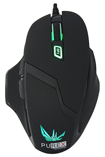 PUREX Technology 4000 DPI High Precision Programmable Wired Laser Gaming Mouse, 6 Programmable Buttons, 5 DPI Settings, 5 Color LED Indicating Different Profiles, Black Rubber Coating Painting - - Mouse Dpi Laser Gaming 2500