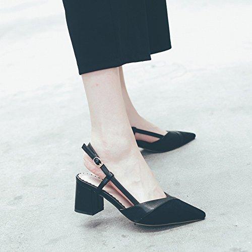 Profonde Dames avec Peu Talons Pointus Parfumées CWJ Chaussures de Bouche Petites Chaussures Femmes Hauts Mode Chaussures Sauvage Épais Noir H8Fzqx