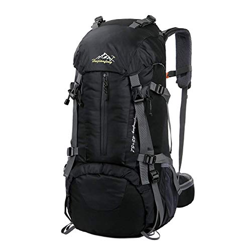 Esup Hiking Backpack, 50L Multipurpose Mountaineering Backpack with rain Cover 45l+5l Travel Camping Backpack, Suitable for Climbing Skiing Outdoor Sport, (Black-50L)
