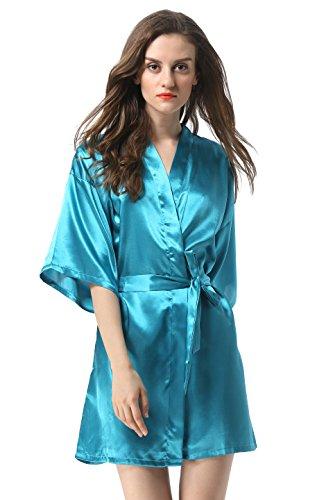 Vogue Forefront Women's Satin Plain Short Kimono Robe Bathrobe, Medium, Peacock Blue