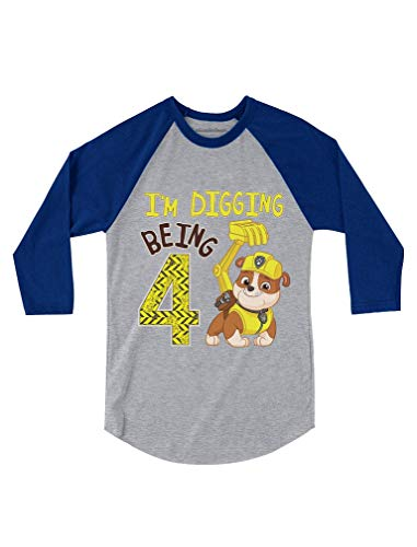 Paw Patrol Digging 4th B-Day Official 3/4 Sleeve Baseball Jersey Toddler Shirt 4T Blue (3/4 Birthday Sleeve)