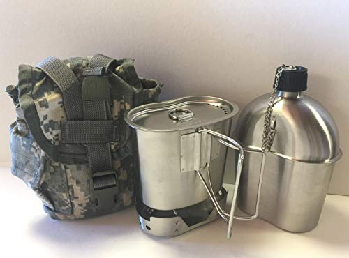 - G.A.K G.I. Style 1 qt. Stainless Steel Canteen with Cup and Vented Lid with New Stainless-Steel Stove Foldable, and Used Surplus G.I. Issue Cover (ACU MOLLE II), Kit.