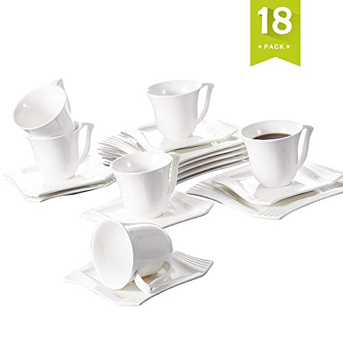 Malacasa, Series Amparo, Ivory White Porcelain Afternoon Tea Set, 18-Piece Drinkware Coffee Set of 6.8oz Cups, 6