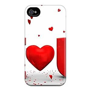Slim Fit Protector Shock Absorbent Bumper I Love You In Red Case For Iphone 4/4s