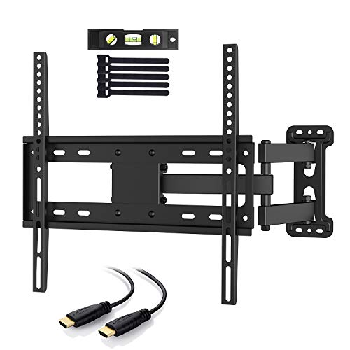 ount Bracket Full Motion Single Articulating Arm for Most 32-55 inch LED, LCD, OLED, Flat Screen, Plasma TVs with Tilt, Swivel and Rotation Up to 77lbs VESA 400x400mm ()