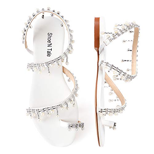 (Shoe'N Tale Women Bling Rhinestone Pearl Flat Gladiator Sandals Toe Ring Dress Shoes (9.5 M US, White-Silver Glitter))