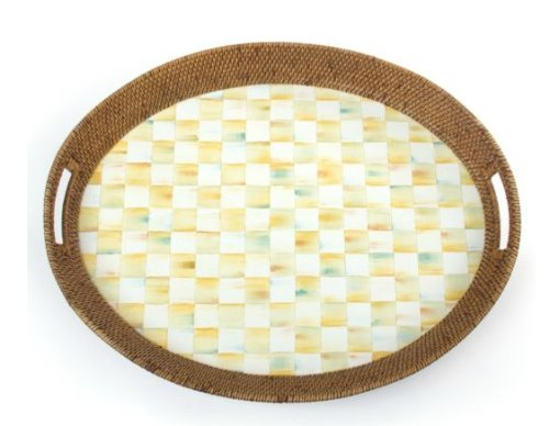 MacKenzie-Childs Parchment Check Rattan & Enamel Party Tray 19.5'' W, 25.5'' L, 3'' T by MacKenzie-Childs (Image #1)
