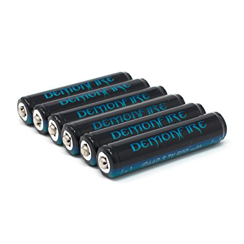 10440 Button Top 600mAh 3.7V Li-Ion Demonfire Protected Rechargeable Battery (6 - Lithium Battery 18650 Protected