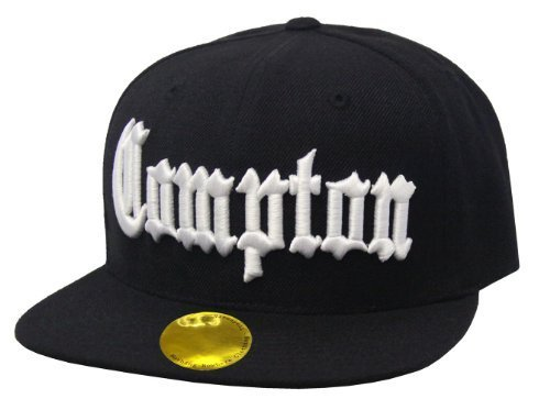 Compton Flat Bill Snapback Black Adjustable Baseball (Eazy E Compton Hat)