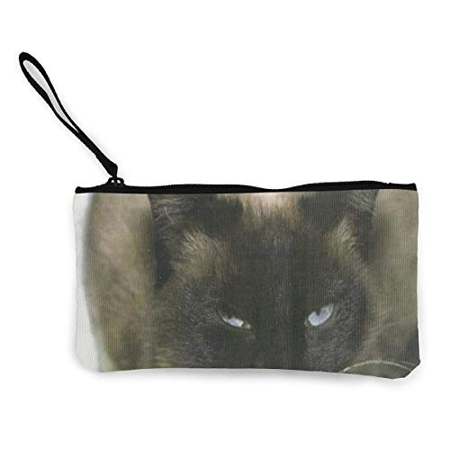 Coin Purse Siamese Cat Girl Zip Canvas Purse Wallet TravelGreat -