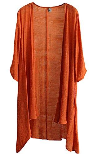 Najia Symbol Women's Summer Short Sleeve High Low Cardigan Tunic Top (US XL/Label 3XL, Orange)