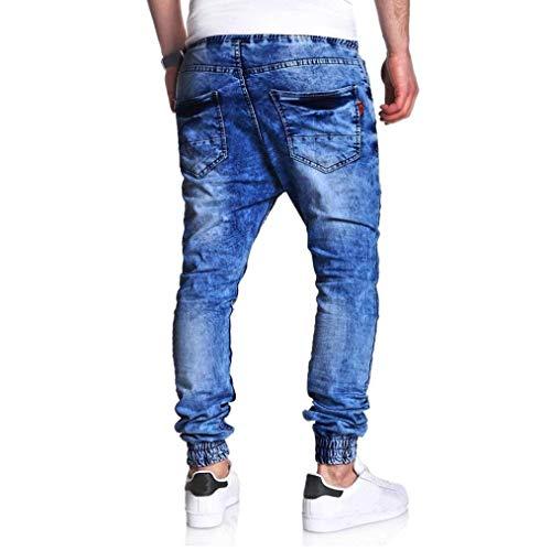 Con Casual Uomo Taglio Elastico Blu Denim Jeans Da Lavato In Vintage Fami Ad Slim 0w6pSq