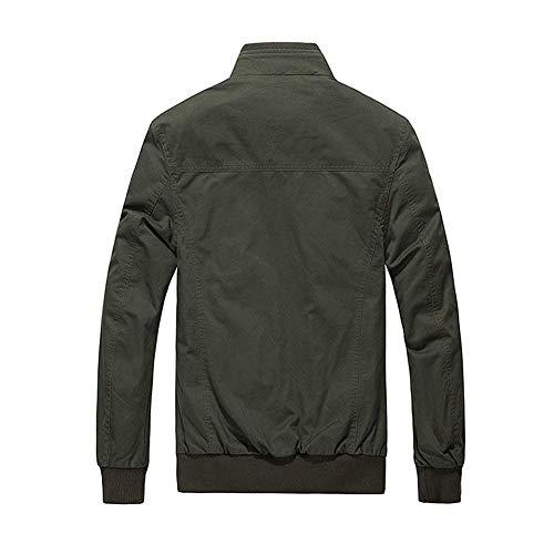 Uomo Cerniera Cotone Con Bottone Autunno Vintage Capispalla Dunkelgrün Tasche Jacket Da Giacca Maniche Lunghe Motociclista In R0IOOq