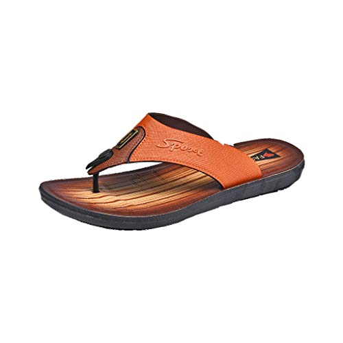 Corriee Flip Flops for Men Leather Beach Shoes Leisure Thong Sandals Slippers Flats Yellow (Croc Yellow Leather)