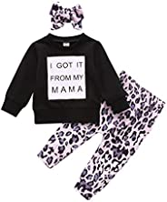 Luiryare Baby Girl Cotton Pullover Shirt Long Sleeve from Mama Tops Leopard Pants Headband Outfit Toddler Clot