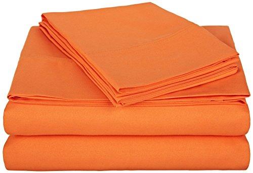 Queen Micro Fiber Sheet Set - Soft and Comfy - By Crescent Bedding Orange Queen (Orange Bedding Set)