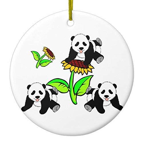 Sunflower Panda Bears Xmas Decoration Ceramic Ornament Circle Shape
